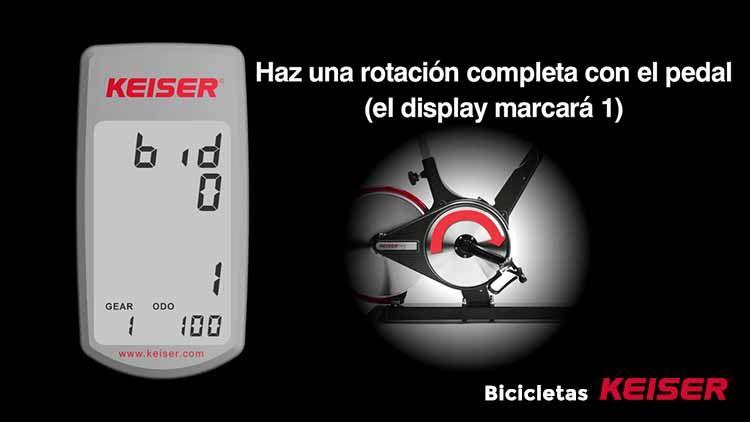configurar display Keiser rotando el pedal