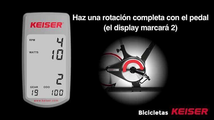 configurar display Keiser pedal posicion 2