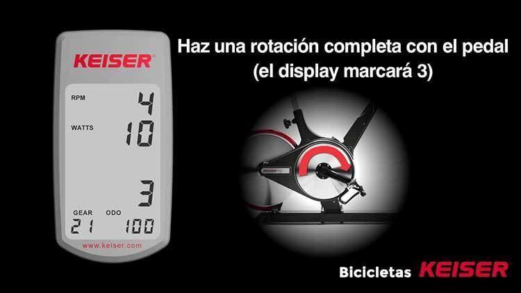 configurar display Keiser rotando pedal posicion 3