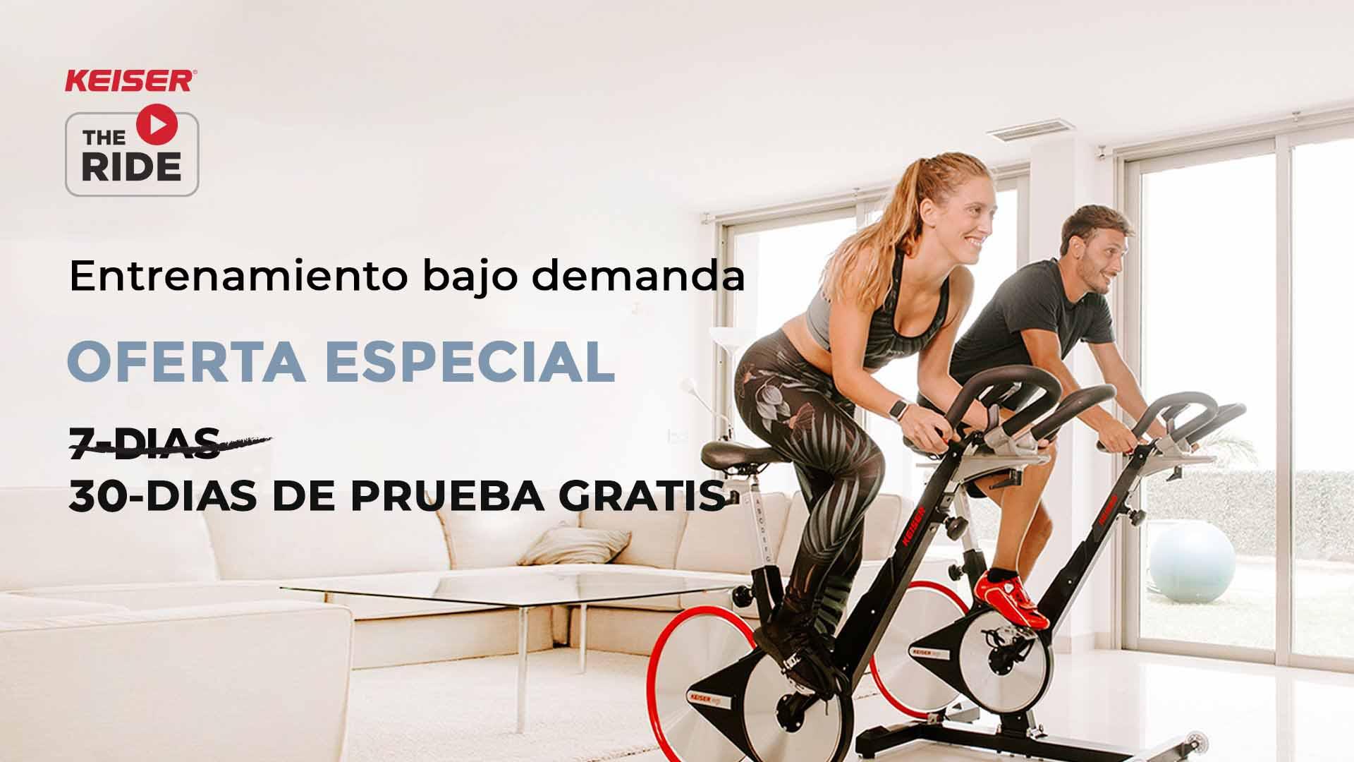 pareja entrena en casa con bicicletas keiser m3